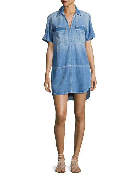 7 For All Mankind Short-Sleeve Popover Denim Dress,