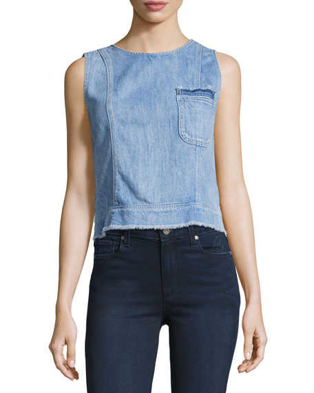 Seamed Denim Shell Top W/ Raw-Edge, Indigo