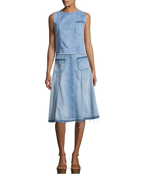 Button-Front Flowy Denim Midi Skirt, Indigo