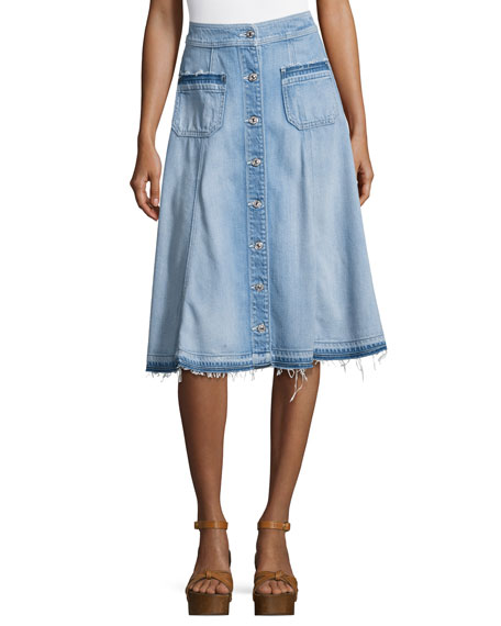 7 For All Mankind Button-Front Flowy Denim Midi Skirt, Indigo