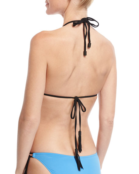 Three Of A Kind Triangle Swim Top, Blue