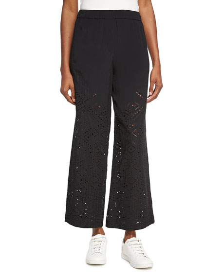 Theory Alkes Ghost Crepe Eyelet Pants, Black and