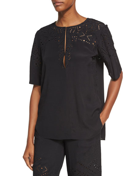 Theory Antazie E2 Ghost Crepe Eyelet Top, Black