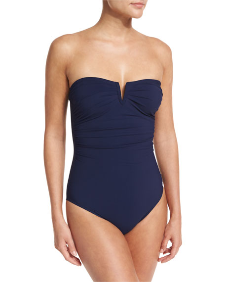 Bandeau Notched Solid One-Piece Swimsuit