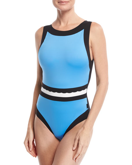 Three Of A Kind High-Neck Colorblock One-Piece Swimsuit, Multi