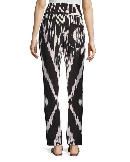 Gunilla Interlace Ikat Silk Pants, Multi