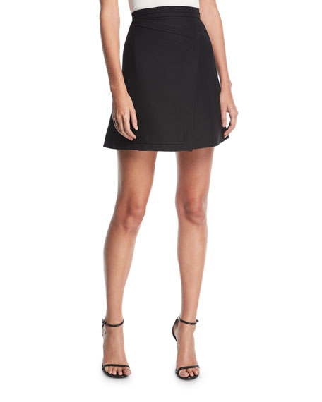 Carven High-Waist Asymmetric Wool-Blend A-Line Skirt