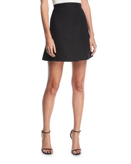 Carven High-Waist Asymmetric Wool-Blend A-Line Skirt