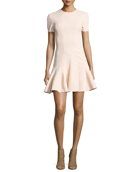 Carven Short Sleeve Mini Dress, Beige