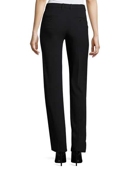 Hartsdale B Straight-Leg Crepe Pants, Black