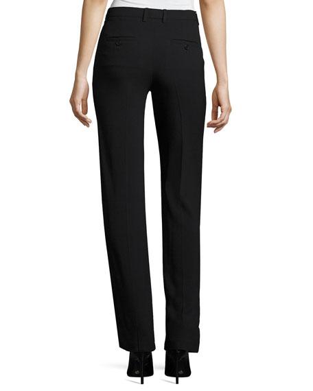 Hartsdale B Straight-Leg Crepe Pants, Black