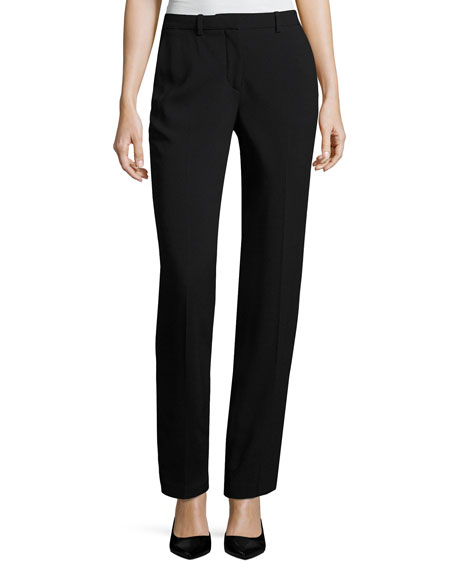 Theory Hartsdale B Straight-Leg Crepe Pants, Black