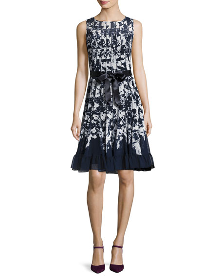 Sleeveless Printed Voile Flounce Cocktail Dress, Blue