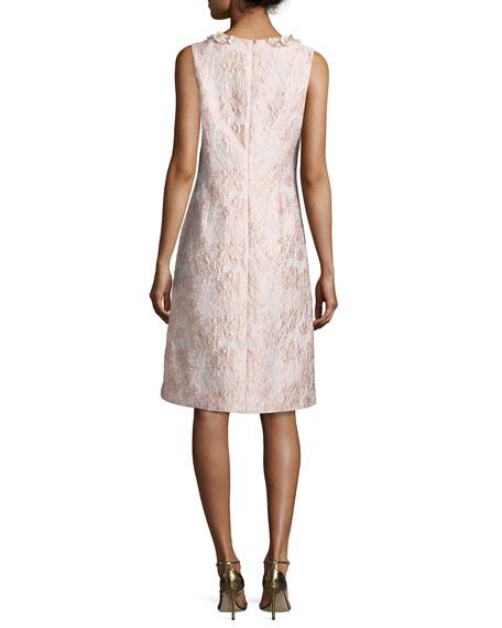 Sleeveless Floral Jacquard Cocktail Dress, Pink