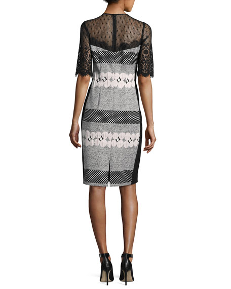 Short-Sleeve Jacquard Polka-Dot Sheath Dress, Black/White