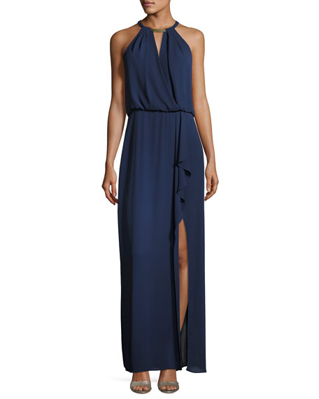 BCBGMAXAZRIA Amanda Plate Collar Evening Gown, Navy