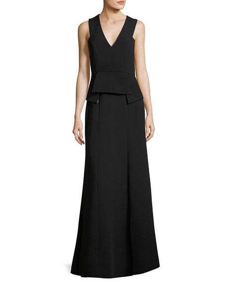 BCBGMAXAZRIA Alejandra Peplum Crepe Gown, Black
