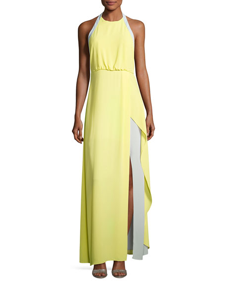 BCBGMAXAZRIA Camillia Halter-Neck Colorblocked Dress, Yellow