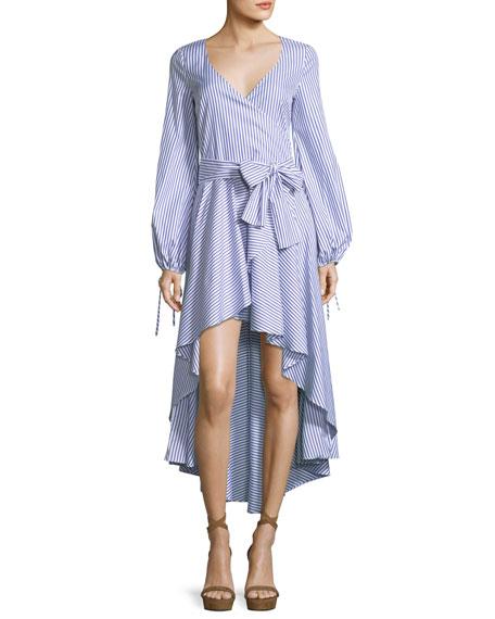 Caroline Constas Lena High-Low Long-Sleeve Striped Poplin Dress
