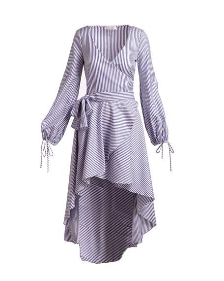 Lena High-Low Long-Sleeve Striped Poplin Dress