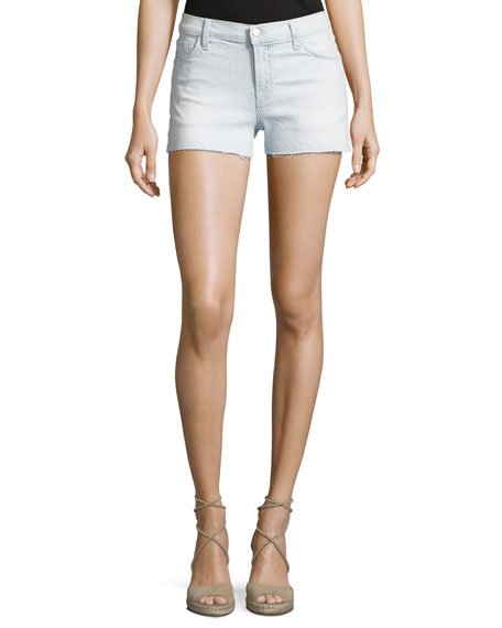 1044 Mid-Rise Denim Shorts, Light Blue