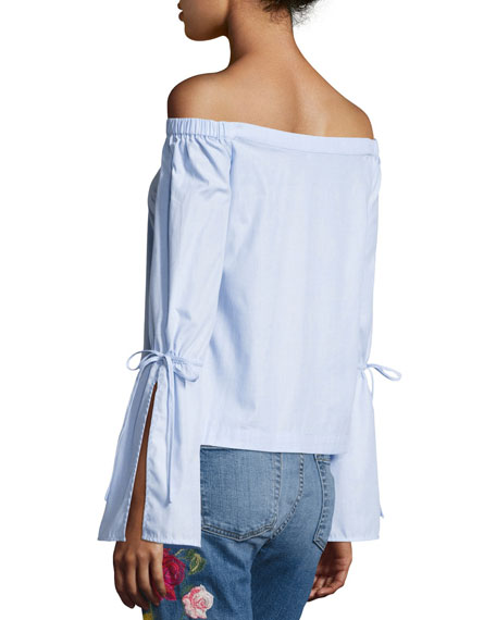 Allington Off-the-Shoulder Cotton Top, Blue
