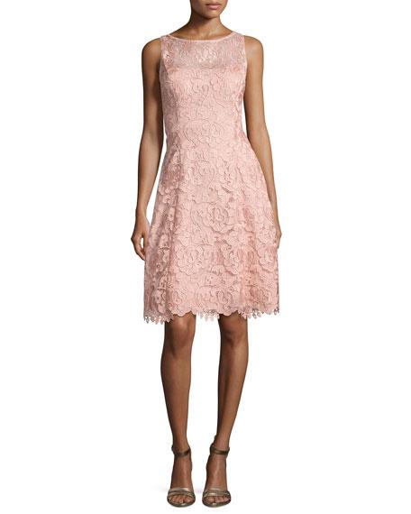 Bato Sleeveless Lace Sheath Dress, Apricot