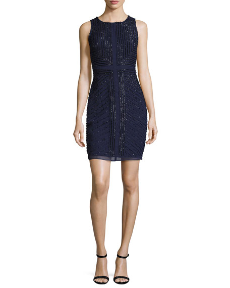Pearl Sleeveless Beaded Georgette Cocktail Dress, Navy