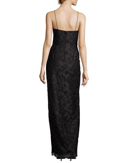 Sleeveless Floral Column Gown, Black
