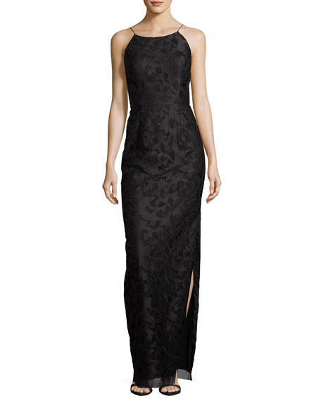 Aidan Mattox Sleeveless Floral Column Gown, Black