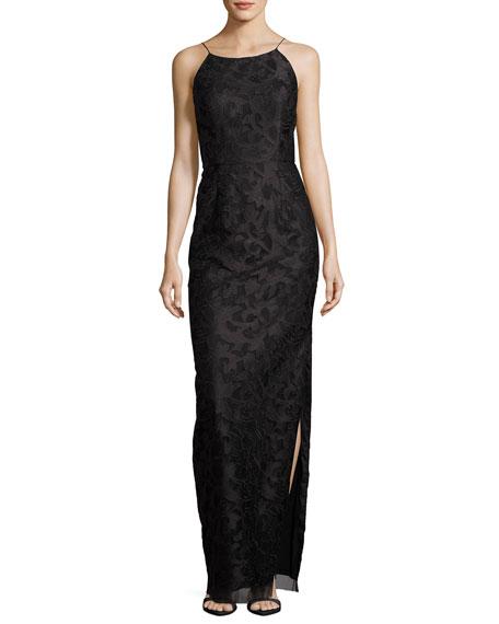 Aidan Mattox Sleeveless Floral Column Gown, Black