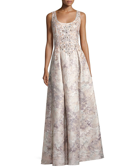 Aidan Mattox Sleeveless Beaded Floral Brocade Gown, Mink