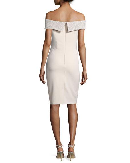 Sequin Off-the-Shoulder Jersey Cocktail Dress, Light Pink