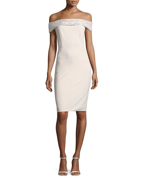 Aidan Mattox Sequin Off-the-Shoulder Jersey Cocktail Dress, Light