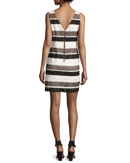 Sleeveless Striped Sheath Dress, Black/White