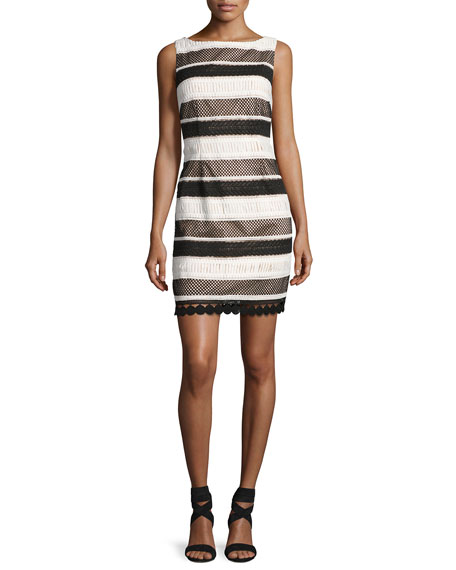 Aidan by Aidan Mattox Sleeveless Striped Sheath Dress,
