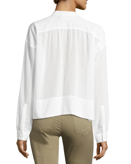 Gail Long-Sleeve Poplin Top, White