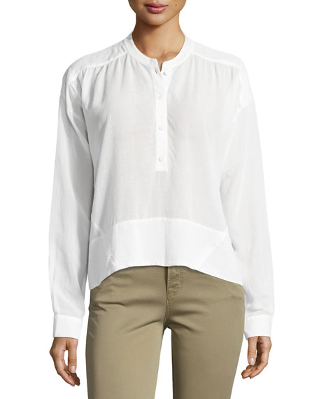 J Brand Gail Long-Sleeve Poplin Top, White