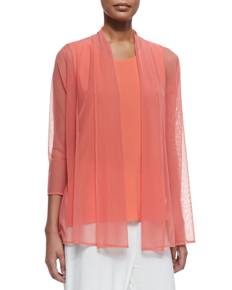 Caroline Rose 3/4-Sleeve Illusion Sheer Cardigan, Petite
