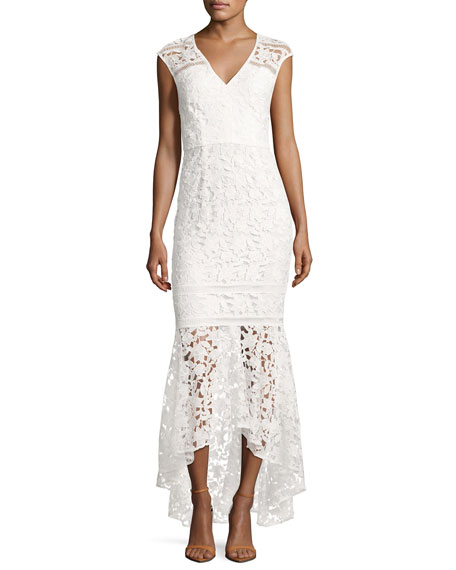 Shoshanna Evangelina Cap-Sleeve Floral Lace Gown, Optic White
