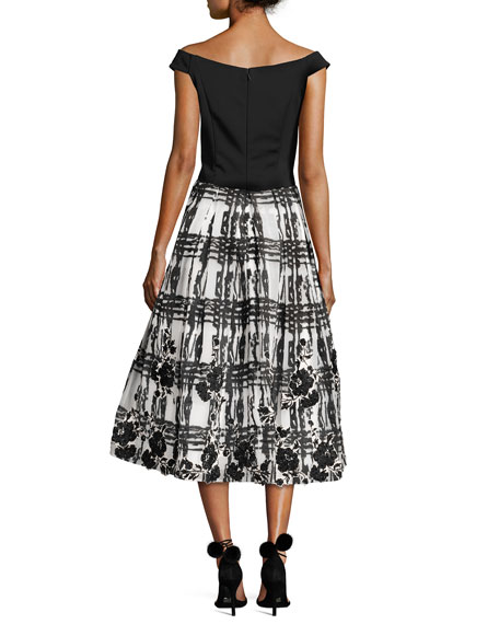 Off-the-Shoulder Satin & Chiffon Cocktail Dress, Black/White