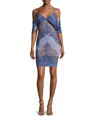 Cold-Shoulder Lace Two-Tone Cocktail Dress, Lavender