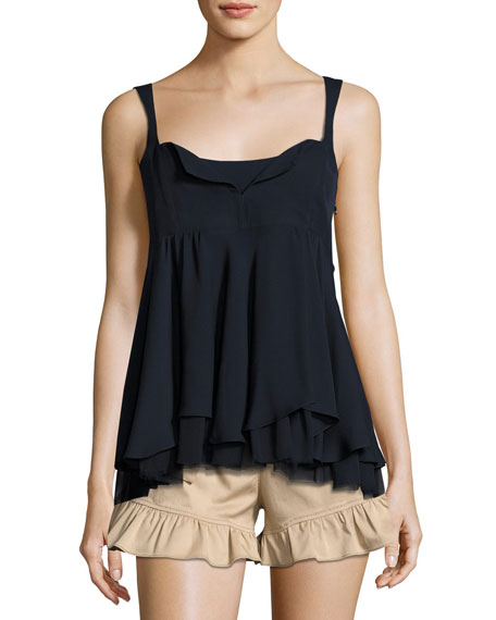 Zanna Sleeveless Ruffled Silk Tank Top, Navy