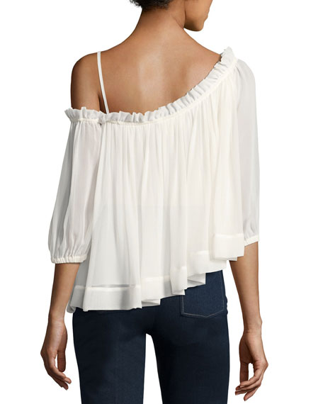Colette One-Shoulder Ruffle Top, Ivory