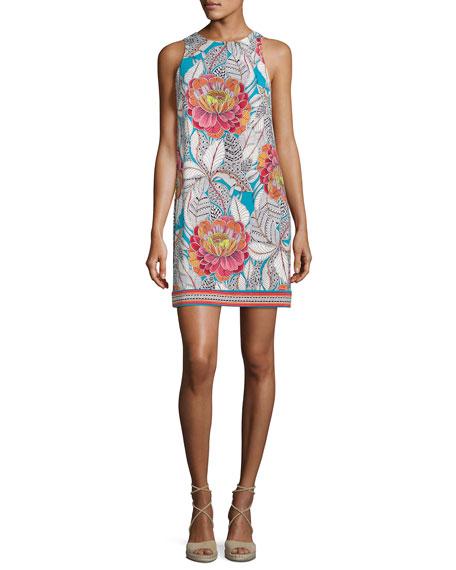 Trina Turk Macee Sleeveless Floral Jersey Shift Dress,