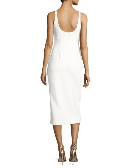 Breena Sleeveless High-Slit Midi Dress, Ivory