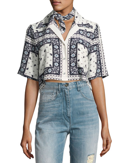 Dani Cropped Button-Front Top, Multi-print