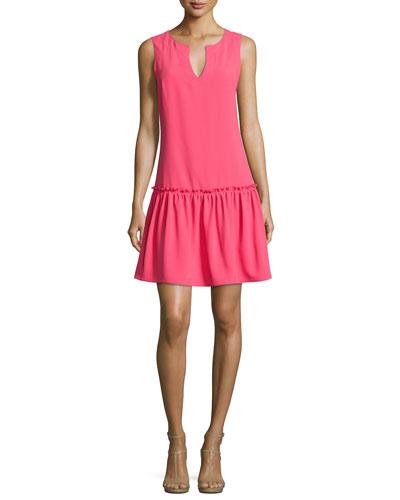 Yarrow Sleeveless Crepe Dress, Pink