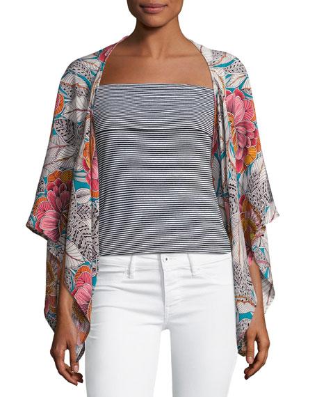 Exquisite Floral Silk Topper Jacket, Multicolor
