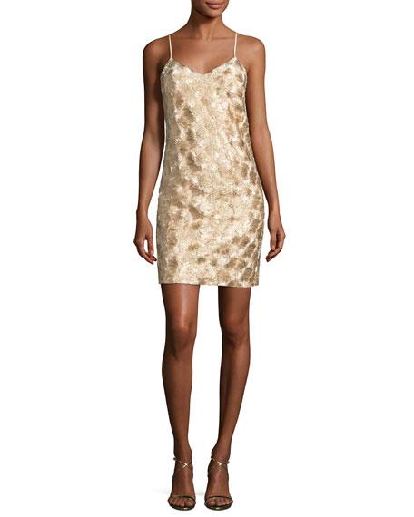 Highlight Sleeveless Metallic Cocktail Dress, Gold